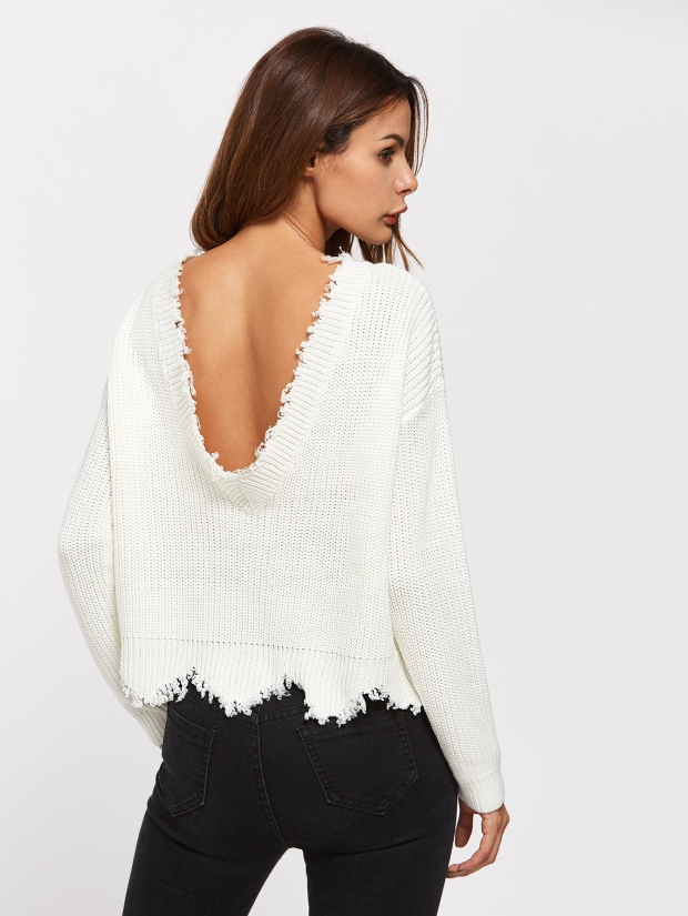 Low Back Raw Edge Sweater Shein